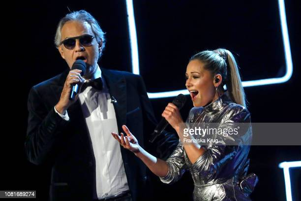Helene Fischer and Andrea Bocelli during the television show 'Schlagerchampions - Das grosse Fest der Besten' at Velodrom on January 12, 2019 in...