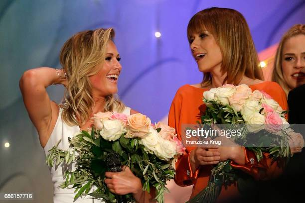 Helene Fischer and Francine Jordi during the tv show 'Willkommen bei Carmen Nebel' at Velodrom on May 20 2017 in Berlin Germany