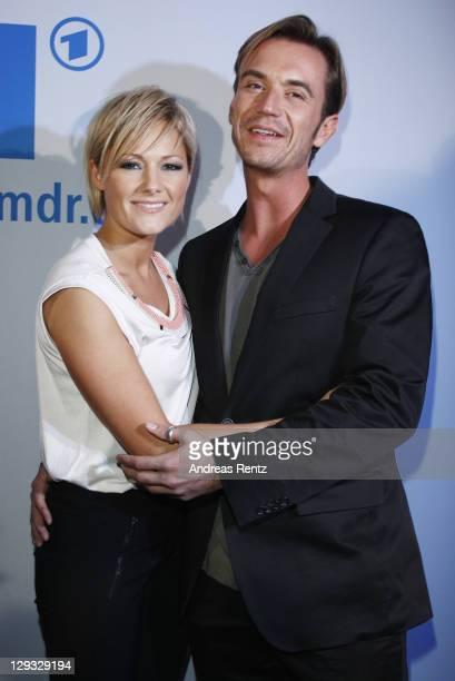 Helene Fischer and her partner Florian Silbereisen attend the after show party to the 'Das Herbstfest der Abenteuer' music show on October 15, 2011...