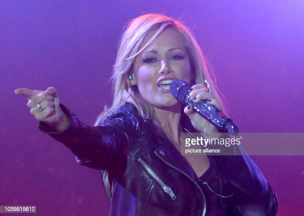 Helene Fischer performes prior to the broadcast of the Eurovision Song Contest at the public screening in Hamburg Germany 10 May 2014 The ESC takes...