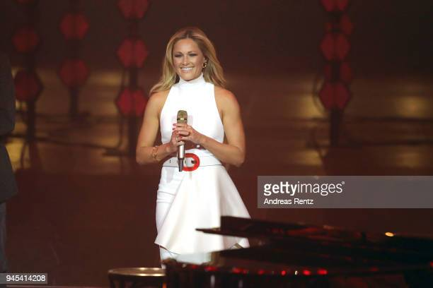 Helene Fischer performs on stage during the Echo Award show at Messe Berlin on April 12 2018 in Berlin Germany
