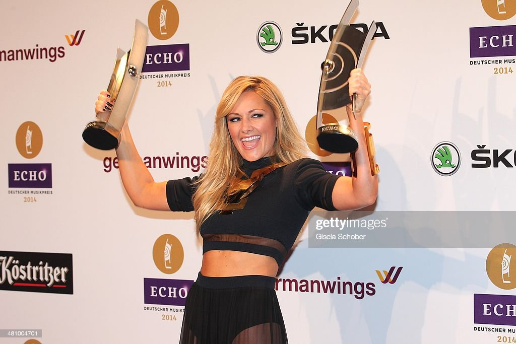 Helene Fischer poses at the Echo award 2014 winners board at Messe Berlin on March 27, 2014 in Berlin, Germany.
