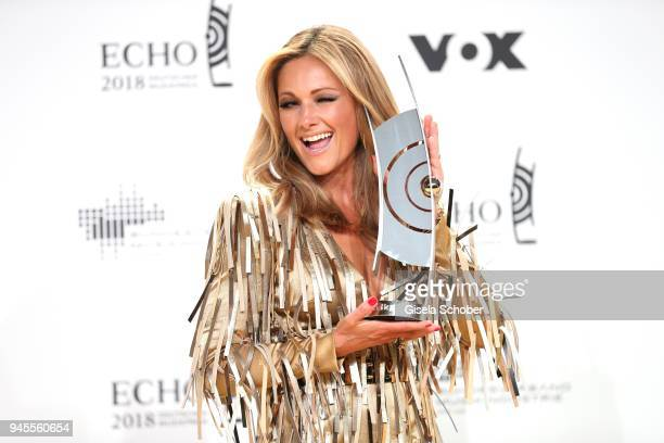 Helene Fischer poses with award during the Echo Award winners board at Messe Berlin on April 12 2018 in Berlin Germany