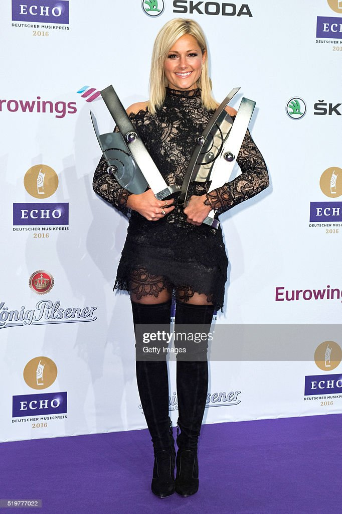 Helene Fischer poses with her awards at the winners board during the Echo Award 2016 on April 7, 2016 in Berlin, Germany.