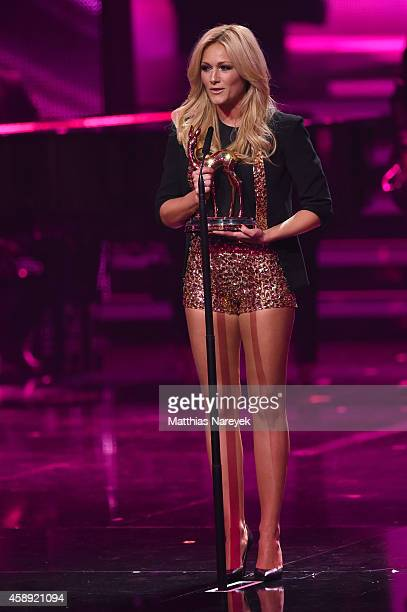 Helene Fischer speaks on stage during the Bambi Awards 2014 show on November 13 2014 in Berlin Germany
