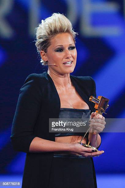 Helene Fischer wins the award for Most Popular German Music Act during the Goldene Kamera 2016 on February 6 2016 in Hamburg Germany