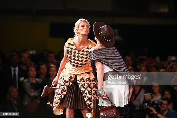 Helene Gateau and Sophie Jovillard walk the runway during the Fashion Chocolate show at Salon du Chocolat at Parc des Expositions Porte de Versailles...