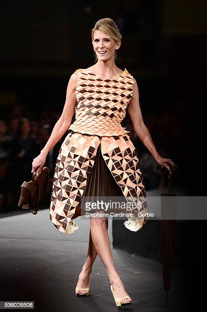 Helene Gateau walks the runway during the 'Salon Du Chocolat' Fashion Show on October 29 2014 in Paris France
