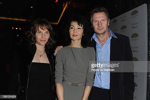 Helene Grimaud Maggie Cheung and Liam Neeson attend the Hotel Mandarin Oriental Inauguration at Hotel Mandarin Oriental on September 22 2011 in Paris...