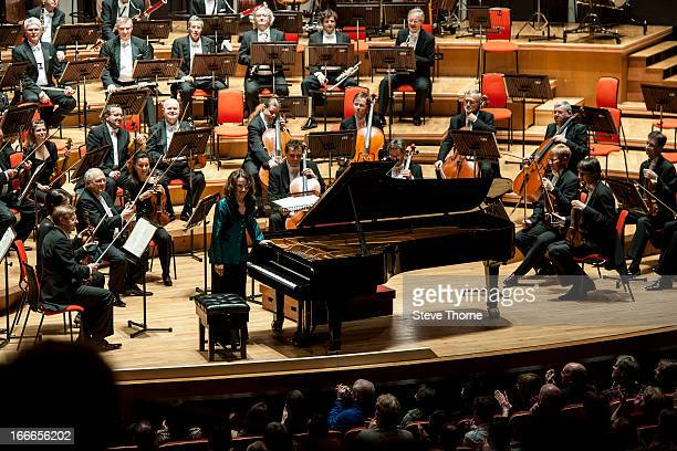 Helene Grimaud performs on stage in concert with the Czech Philharmonic Orchestra at Symphony Hall on April 12 2013 in Birmingham England