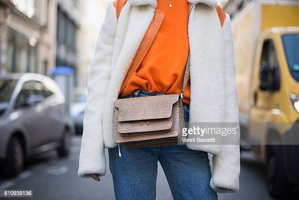 Helene Hammer poses wearing a Mardou and Dean coat after the Anne Sofie Madsen show during Paris Fashion Week Womenswear SS17 on September 28 2016 in...