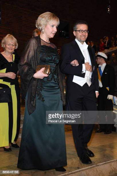 Helene Hellmark Knutsson and Carlos Moedas attend the Nobel Prize Banquet 2017 at City Hall on December 10 2017 in Stockholm Sweden