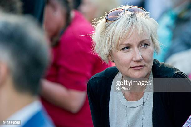 Helene Hellmark Knutsson Sweden's Minister for Higher Education attends Prime Minister Stefan Löfven's speech at Almedalen Week in Visby on July 5...