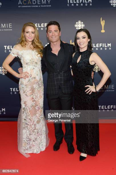 Helene Joy Yannick Bisson and Natasha Negovanlis attend 2017 Canadian Screen Awards at Sony Centre For Performing Arts on March 12 2017 in Toronto...