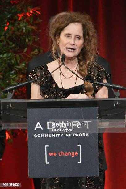 Helene Miller speaks on stage during the Adapt Leadership Awards Gala 2018 at Cipriani 42nd Street on March 8 2018 in New York City