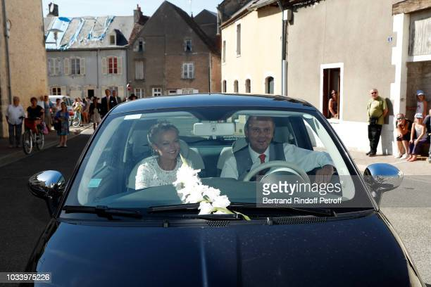 Helene of Yougoslavia and her brother Serge of Yougoslavia attend Wedding of Helene of Yougoslavia and Stanislas Fougeron at Eglise Saint Etienne on...