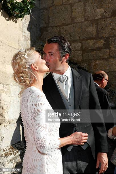 Helene of Yougoslavia and Stanislas Fougeron attend Wedding of Helene of Yougoslavia and Stanislas Fougeron at Eglise Saint Etienne on September 15...