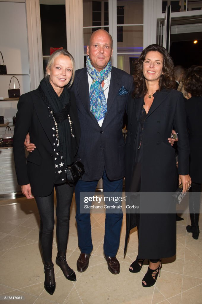 Helene of Yugoslavia, Serge of Yugoslavia and his wife Eleonora Rajneri attend 'La Fete Des Vendanges' at Dior Avenue Montaigne on September 14, 2017 in Paris, France.