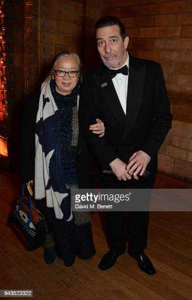 Helene Patarot and Ciaran Hinds attend The Olivier Awards with Mastercard after party at the Natural History Museum on April 8 2018 in London England