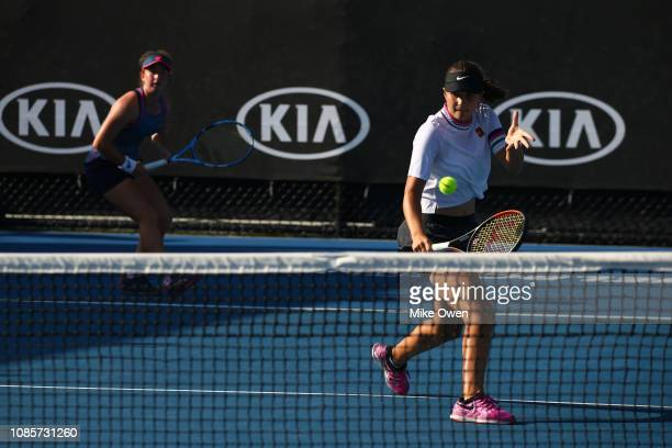 Helene Pellicano of Malta and Marta Custic of Spain compete in their Junior's Doubles match against Leylah Annie Fernandez of Canada and Sasha Wood...