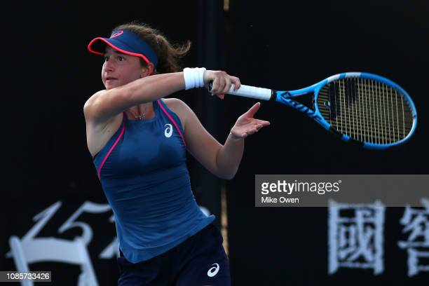 Helene Pellicano of Malta plays a forehand in her Junior's Doubles match with partner Marta Custic of Spain against Leylah Annie Fernandez of Canada...