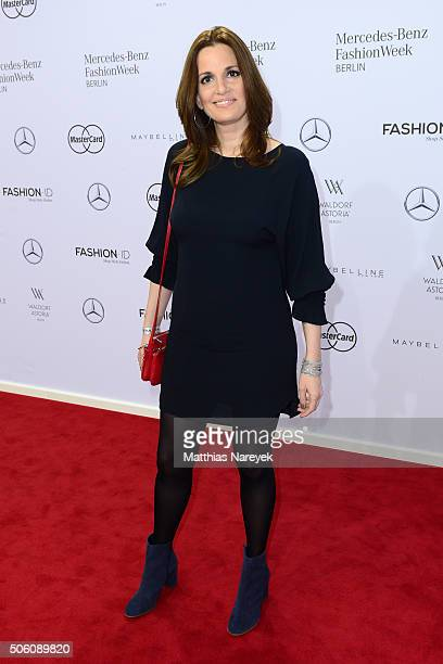 Helene Petsilas attends the Baldessarini show during the MercedesBenz Fashion Week Berlin Autumn/Winter 2016 at Brandenburg Gate on January 21 2016...
