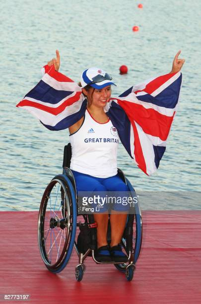 Helene Raynsford of Great Britain celebrates after winning the Rowing Women's Single Sculls Final at Shunyi Olympic RowingCanoeing Park during day...