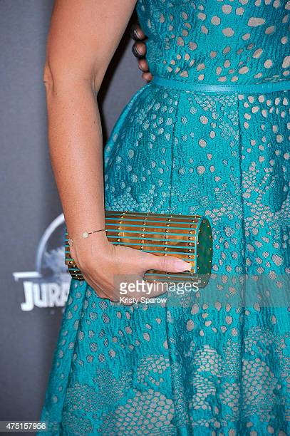 Helene Sy bag detail attends the 'Jurassic World' Photocall at UGC Normandie on May 29 2015 in Paris France