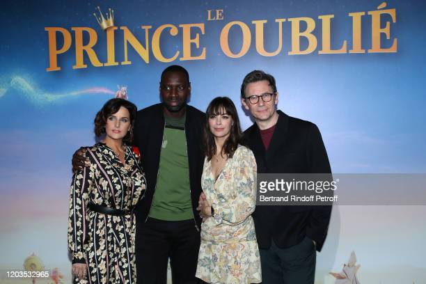"""Helene Sy, Omar Sy, Berenice Bejo and Michel Hazanavicius attend """"Le Prince Oublie"""" Paris Premiere at Le Grand Rex on February 02, 2020 in Paris,..."""