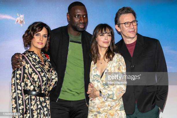 Helene Sy, Omar Sy, Berenice Bejo and Michel Hazanavicius attend the 'Le Prince oublie' Premiere at Le Grand Rex on February 02, 2020 in Paris,...