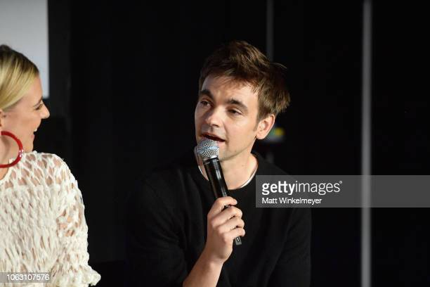 Helene Yorke and Drew Tarver speak onstage during 'The Other Two with Fred Armisen' during the Vulture Festival presented by ATT at Hollywood...