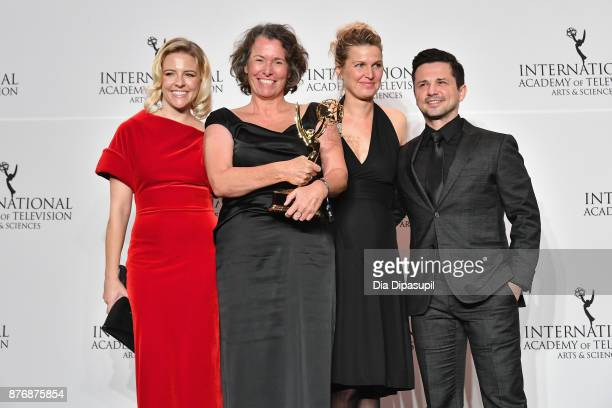 Helene Yorke Beatrice Kramm and Lucia Haslauer winners of the Short Form Series award for The Braun Family and Freddy Rodriguez pose with award at...