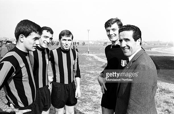 Helenio Herrera Argentinian but naturalized French football trainer together with some Inter football players Milan 1966