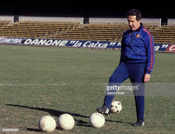 Helenio Herrera coach of the C F Barcelona in the stadium Las Corts Barcelona Spain