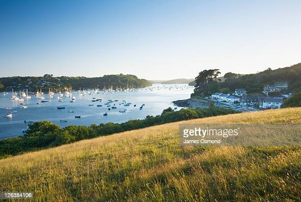 helford river at helford passage. cornwall. england. uk. - river stock pictures, royalty-free photos & images