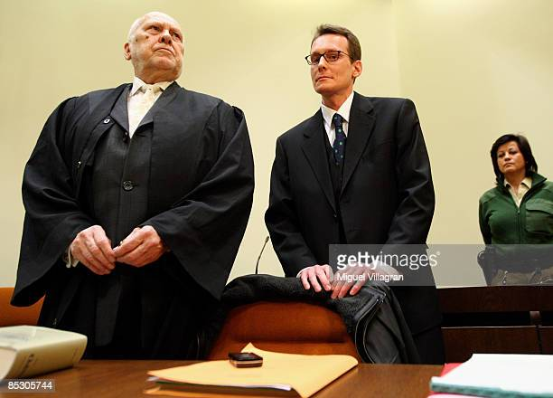 Helg Sgarbi and his German lawyer Egon Geis are pictured prior to Sgarbi's trial at the country court on March 9 2009 in Munich Germany Sgarbi has...