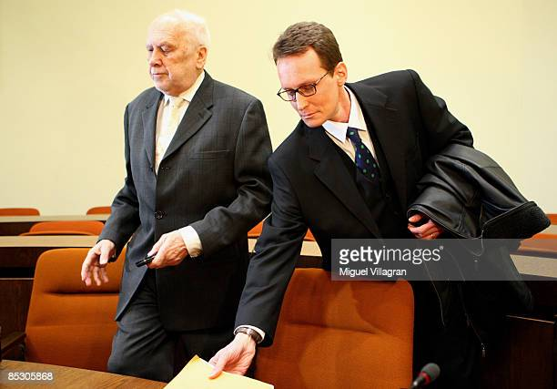 Helg Sgarbi and his German lawyer Egon Geis arrive to Sgarbi's trial at the country court on March 9, 2009 in Munich, Germany. Sgarbi has been...