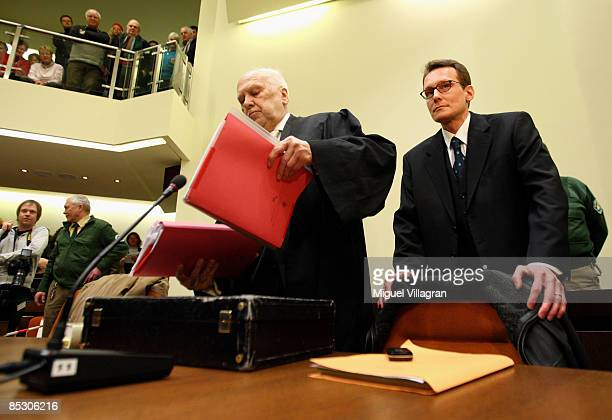 Helg Sgarbi and his German lawyer Egon Geis arrive to Sgarbi's trial at the country court on March 9 2009 in Munich GermanySgarbi has been charged...