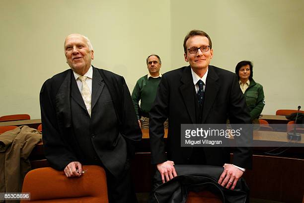 Helg Sgarbi and his German lawyer Egon Geis react prior to the verdict at the country court on March 9 2009 in Munich Germany Sgarbi has been charged...