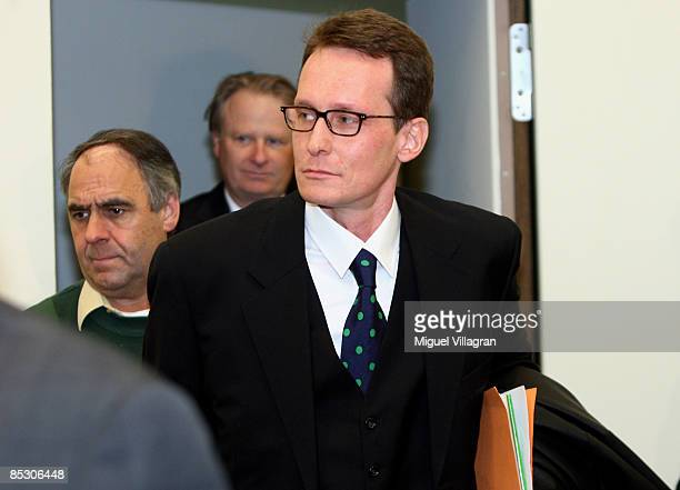 Helg Sgarbi arrives to his trial at the country court on March 9, 2009 in Munich, Germany. Sgarbi has been charged with blackmailing a string of...