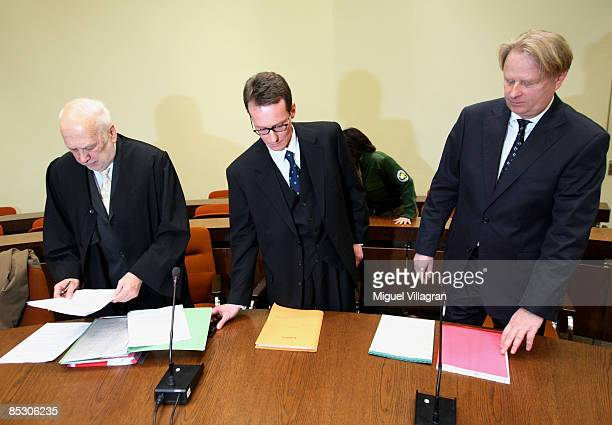 Helg Sgarbi his German lawyer Egon Geis and his Swiss lawyer Till Gontersweiler arrive to Sgarbi's trial at the country court on March 9 2009 in...