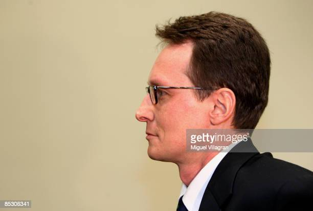 Helg Sgarbi looks on prior to his trial at the country court on March 9 2009 in Munich Germany Sgarbi has been charged with blackmailing a string of...