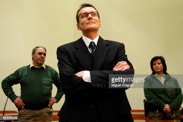 Helg Sgarbi reacts prior to his verdict at the country court on March 9, 2009 in Munich, Germany. Sgarbi has been charged with blackmailing a string...