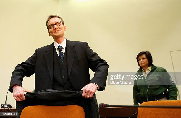 Helg Sgarbi reacts prior to his verdict at the country court on March 9 2009 in Munich Germany Sgarbi has been charged with blackmailing a string of...