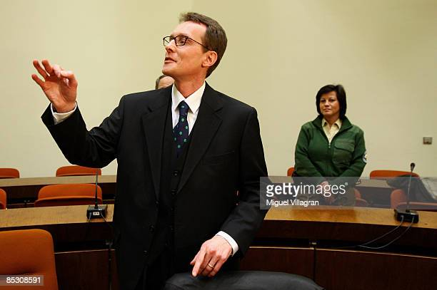 Helg Sgarbi speaks to Italian journalists prior to his verdict at the country court on March 9 2009 in Munich Germany Sgarbi has been charged with...