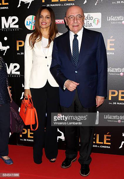 Helga Costa and Adriano Galliani attend the 'Pele' Red Carpet In Milan on May 26, 2016 in Milan, Italy.