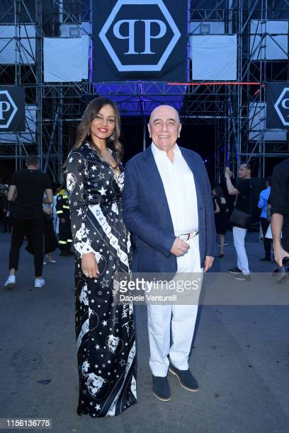 Helga CostaLeo Galliani attend the Philipp Plein fashion show during the Milan Men's Fashion Week Spring/Summer 2020 on June 15, 2019 in Milan, Italy.