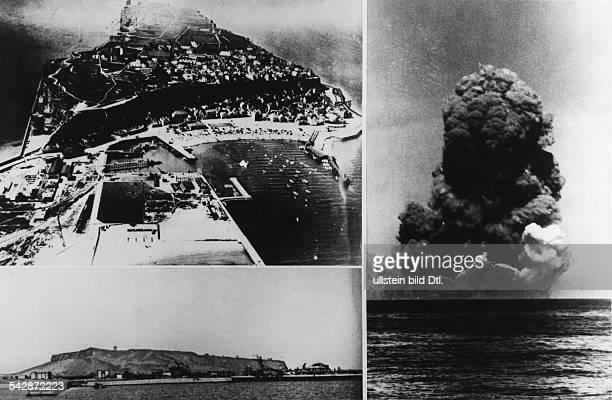 Helgoland Rechts Versuch der Sprengung der Insel durch die Briten am Links oben Ansicht vor denZerstörungen des 2 Weltkrieges Links unten Ansicht vor...