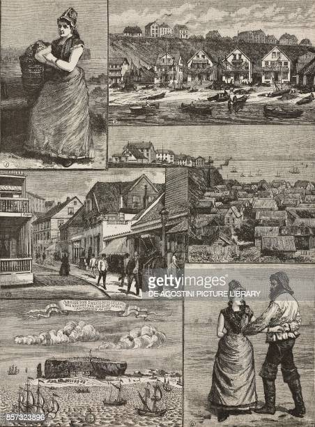 1 Helgoland woman 2 the beach 3 and 4 the upper and lower city 5 18th century print of Helgoland 6 national dance Helgoland inhabitants Germany...
