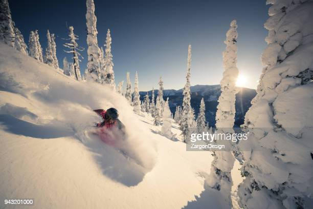 heli skiing in powder - back country skiing stock pictures, royalty-free photos & images